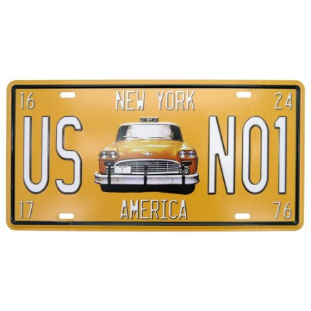 Placa Decorativa em Metal Taxi
