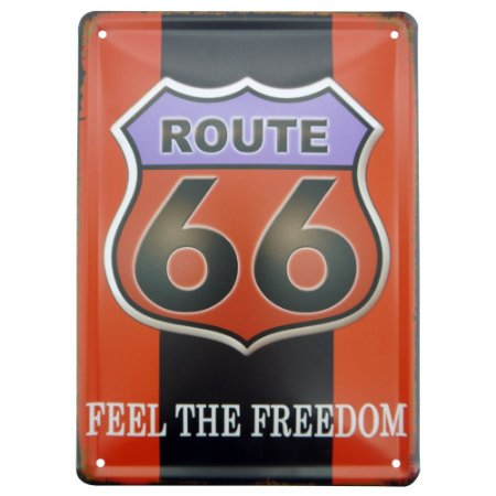 Placa Decorativa em Metal Route 66