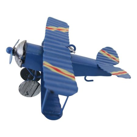 Decorativo Mini Avião Azul de Metal