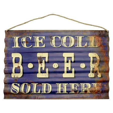Placa em Metal Ice Cold Beer