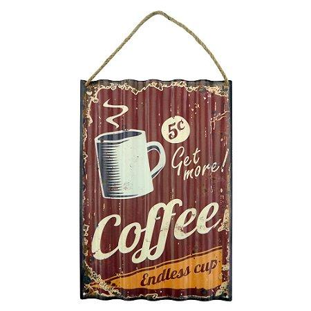 Placa em Metal Fresh Coffee