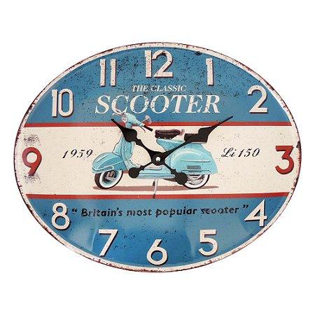 Relógio de Parede Vintage Scooter Azul