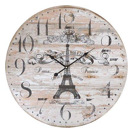 Relógio de Parede Rustic Torre Eiffel