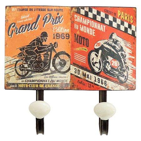 Cabideiro de Parede Vintage Moto Laranja