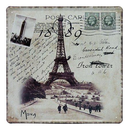Placa Decorativa em Metal Cartão Postal Paris