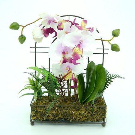 Suporte em Metal com Arranjo de Orquídeas Artificiais