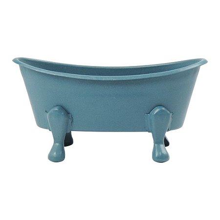 Saboneteira Banheira Azul em Metal