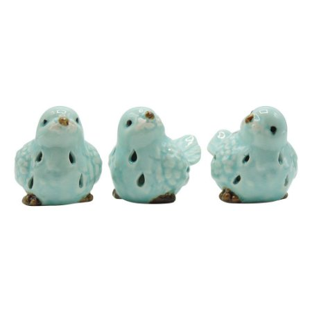Jogo C/3 Passarinhos Azuis Claros em Cerâmica