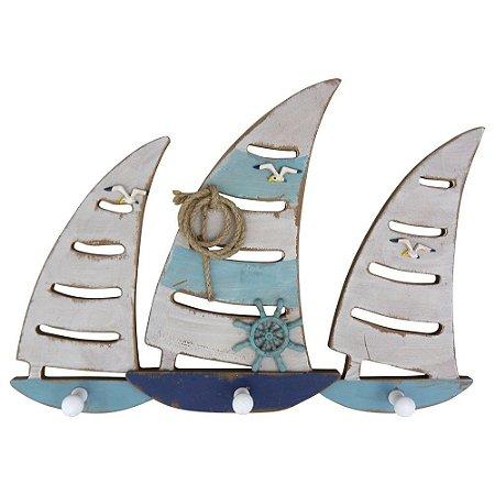 Cabideiro de Parede de Madeira Veleiros Azuis