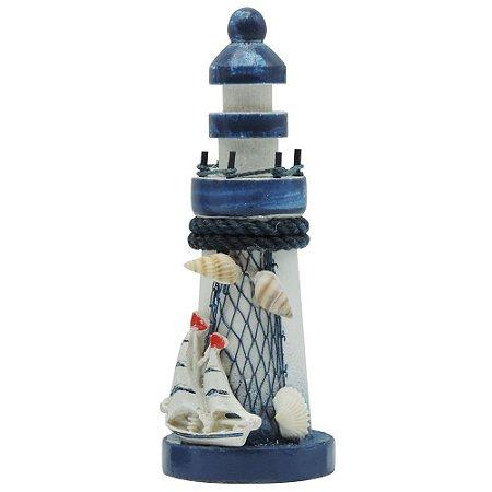 Farol de Madeira com Barquinho Azul e Branco