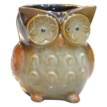 Vaso de Cerâmica Coruja Marrom