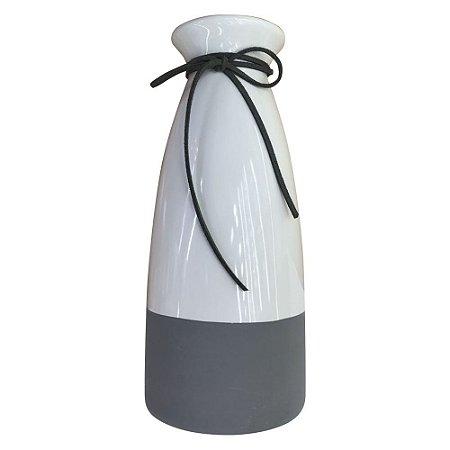 Vaso de Cerâmica Garrafa Minimalista Cinza e Branco