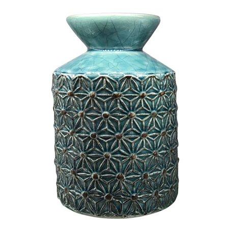 Vaso de Cerâmica Texturas Azul