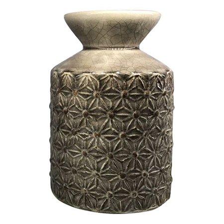 Vaso Marrom Texturizado Flor