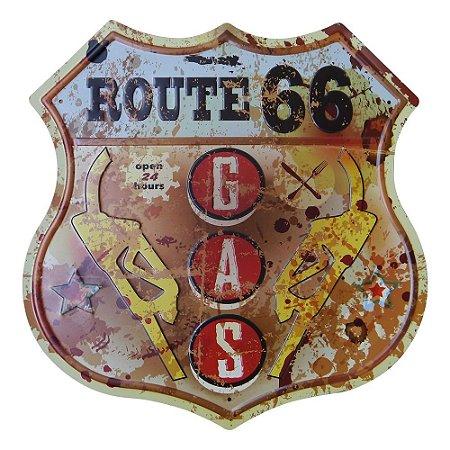 Placa Decorativa Vintage Gás Route
