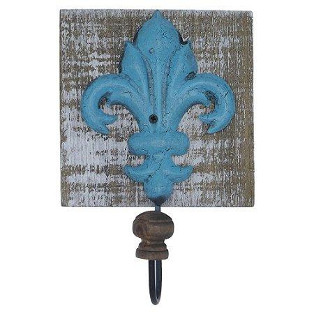 Cabideiro de Parede Rústico Flor de Liz Azul