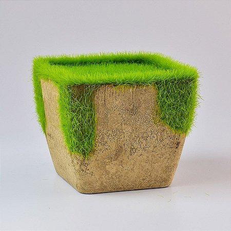 Vaso Quadrado Grama Artificial