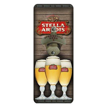 Abridor de Garrafa Quadrado de Parede Stella Artois