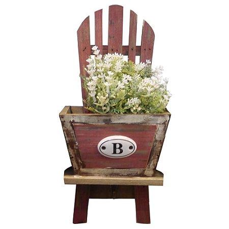 """Vaso de Madeira Cadeirinha Vintage """"B"""""""