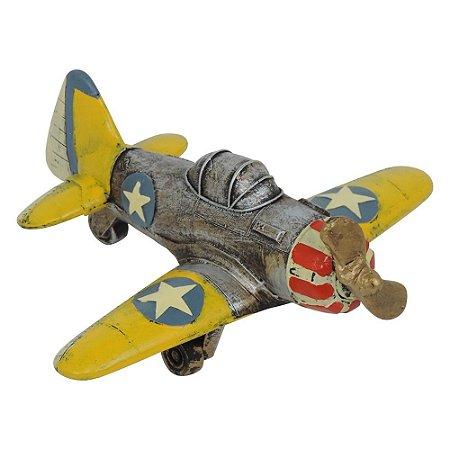 Avião Decorativo Amarelo
