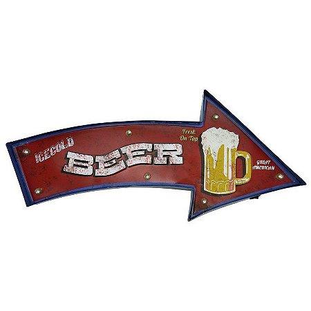 Placa em Metal Beer com Luzes de Led