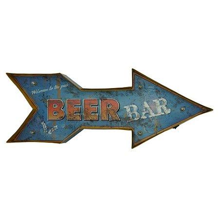 Placa em Metal Bar com Luzes de Led