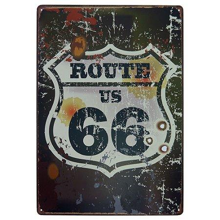 Placa em Metal Decorativa Rota 66