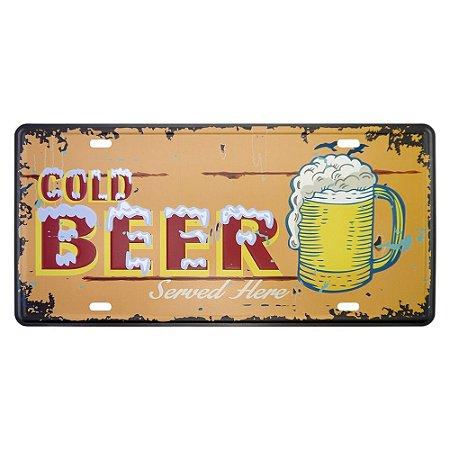 Placa em Metal Cold Beer