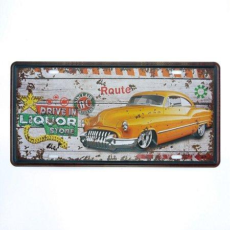 Placa em Metal Yellow Car