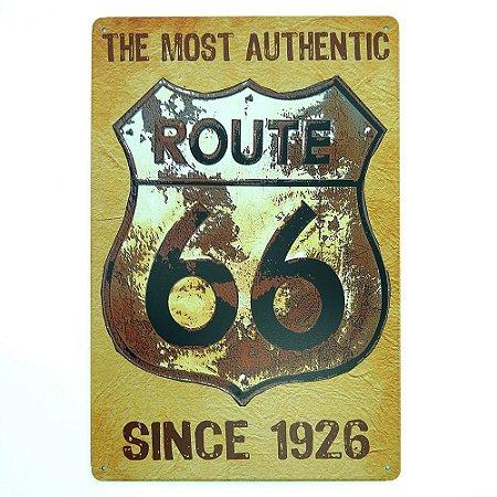 Placa em Metal Vintage Route 66 Amarela