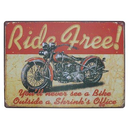 Placa em Metal Ride Free