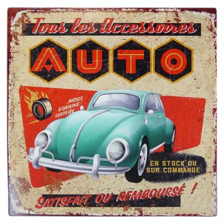 Placa em Metal Vintage Fusca