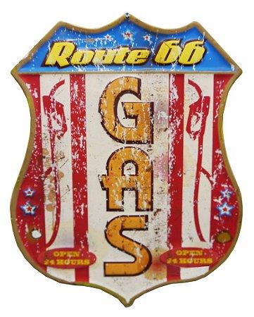 Placa em Metal Decorativa Route 66