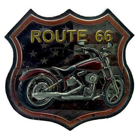 Quadro Moto Vermelha USA Route 66