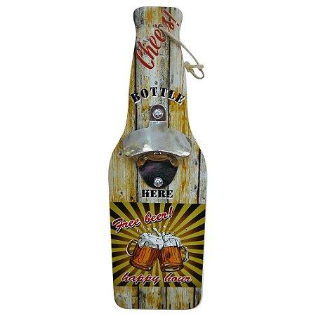 Abridor de Garrafa de Madeira Free Beer