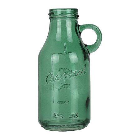 Vaso de Vidro Verde Estilo Garrafa
