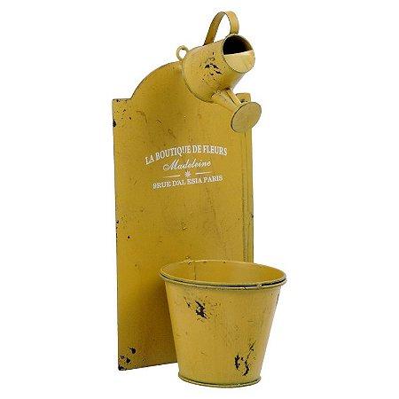 Vaso em Metal Estilo Regador Amarelo