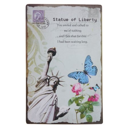 Placa em Metal Decorativa Statue Of Liberty