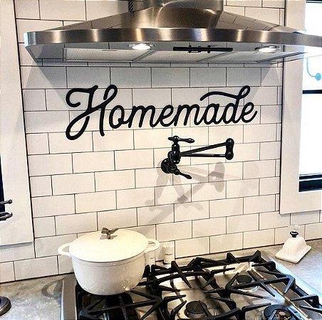 Enfeite Placa Decorativa Homemade Preto em Metal