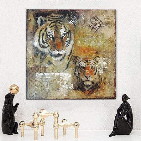 Quadro Canvas Marrom Tigre 60Cm