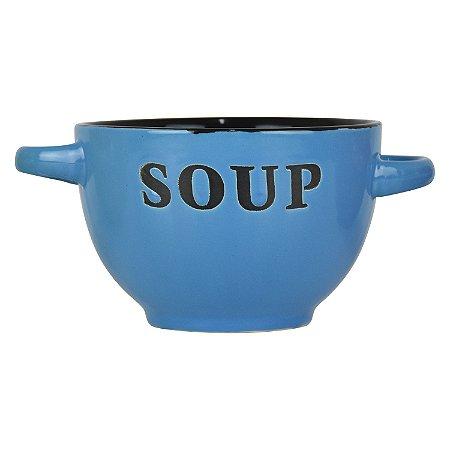 Bowl Soup Azul em Cerâmica
