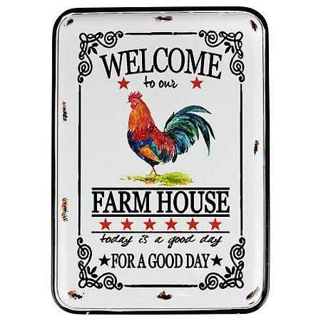 Placa em Metal Farm House 32X22Cm