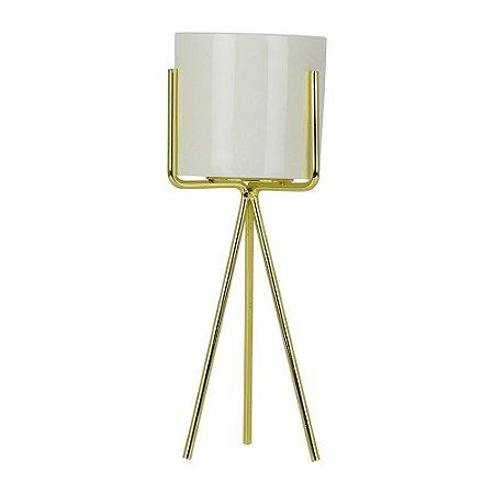 Porta Vela Dourado Glass Médio