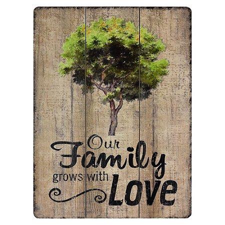 Quadro de Madeira Our Family Love