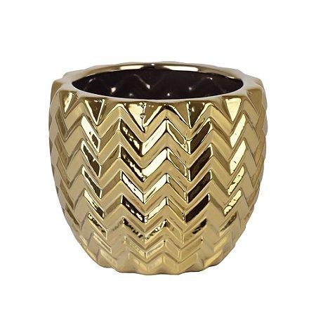 Vaso de Cerâmica Texturizado Dourado