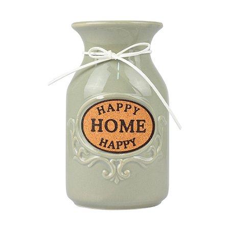 Vaso Garrafinha Happy Home Cinza em Cerâmica