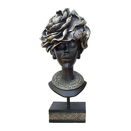 Enfeite Busto Feminino Prata em Resina