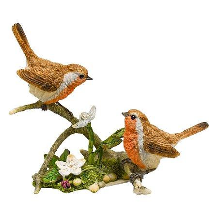 Enfeite Pássaros Galho com Flores em Resina