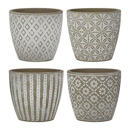 Conjunto de Vasos Formas Geométricas Jogo C/4 Vasos