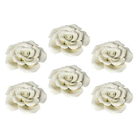 Enfeite Rose Jogo C/6 Rosas em Cerâmica